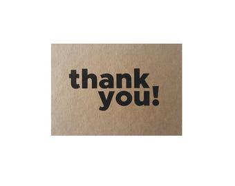 Kraft Thank You Card & Envelope x 5