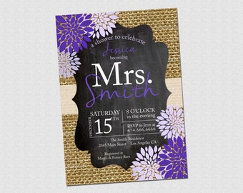 Your Colors - Rustic Burlap Chalkboard Bridal Shower Invitation - PRINTABLE