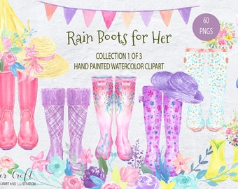 Watercolor Rain Boots for her, Floral Wellies, watercolor wellington boots,  garden boots, wellington boots for Instant download