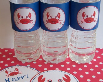 Mr. Crab Collection Printable Water Bottle Labels by The Birthday House