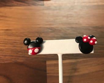 Mickey and Minnie Asymmetrical Studs