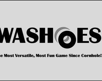 """Slimline 3-Hole Washer Toss WASHOES™ Game Board Set w/ 8 3.0"""" dia. washers by LittleKnot Woodworks"""