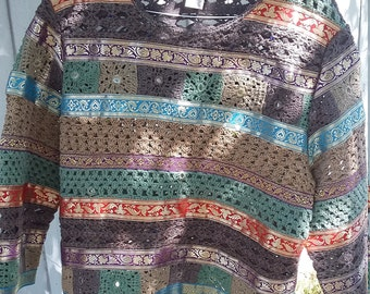 Vintage Sandy Starkman Crochet Multicolor Sweater Size Xtra Large