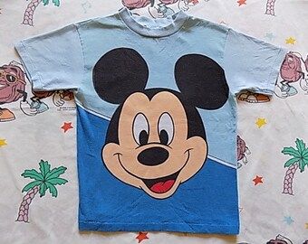 Vintage 80's oversized print Mickey Mouse kids T shirt, size Youth Small Mickey Mouse Collection by Allison Disney
