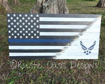 The Thin Blue Line Flag | Airforce Flag | Military Flag | Armed Forces Flag