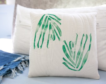 Botanical modern hand-printed and hand-quilted pillow cover in green 12x12