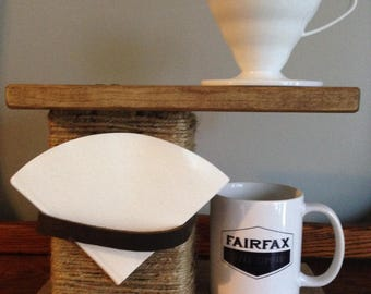 Wood Coffee Pourover Stand with Leather Filter Holder (Hario V60 & Kalita Wave Drippers)