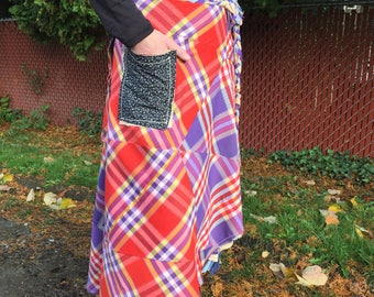 handmade wrap skirt / CIRCUS PLAID skirt / one of a kind / repurposed material / pocket skirt /  recycled fabric / different / unique
