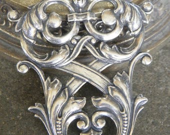 great pattern Byzantine antique Baroque neoclassical jewelry Vintage silver charm pendant