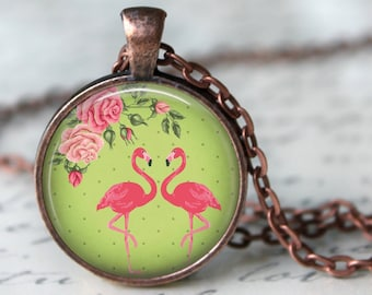 Flamingo Pendant, Necklace or Key Chain - Choice of Silver, Bronze, Copper or Black Setting - Birds, Pink Flamingo, Flamingo Necklace
