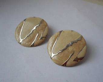 vintage French silver tone metal and enamel round shaped clip on earnings