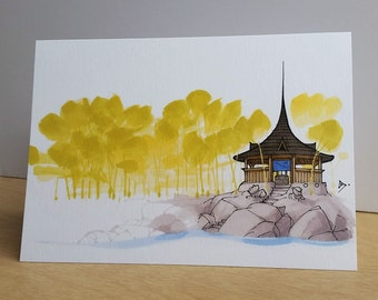 Pagoda Greeting Card/ Pagoda Tiny House Card/ Tiny House Card/ Handmade Card/ Blank Card/ Fine Art Card/ Quirky Card/ Tiny Houses / Random
