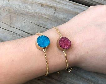 24K Gold Druzy Pendant Bracelet