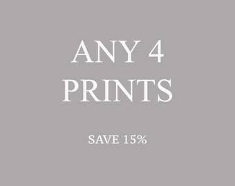 Set of 4 photographs, Gallery Wall, Photography Set, Discounted Set, Any Four Photographs, Save Money Set Of 4 Prints