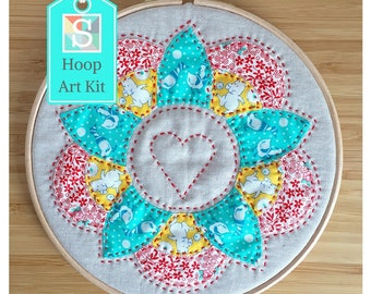 Flower Hoop Art Kit in 1930s Vintage Prints - English Paper-Pieced Hoop Art Kit, Hand Sewing Kit, Craft Kit