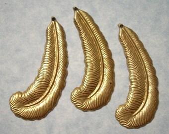 3 Raw Brass Feather Pendants