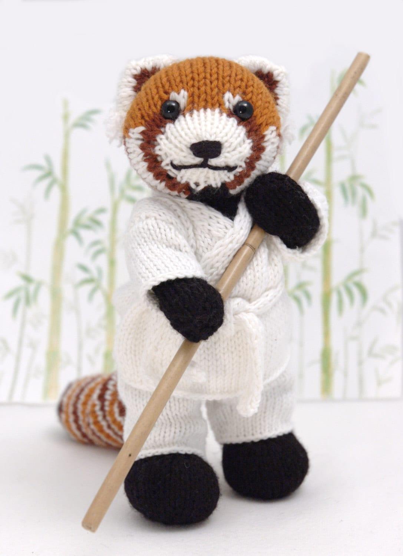 Red Panda with Karate Gi Knitting Pattern from fuzzymitten on Etsy ...