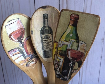 Set of 3 Shabby Chic Wooden Spoons