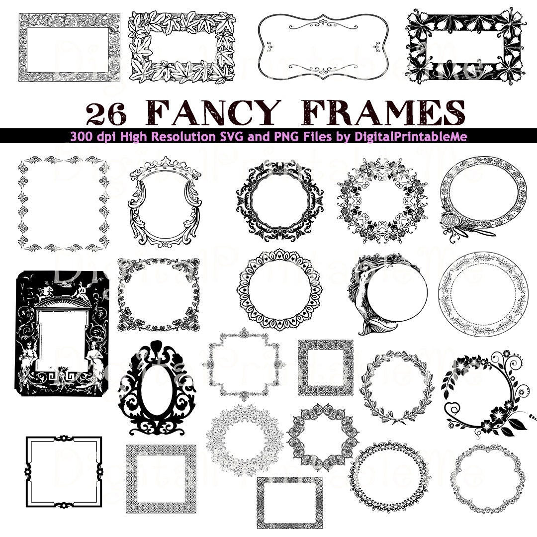Frame Clip Art Set Border 26 Images Fancy Pack Art Deco Instant