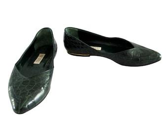 Vintage Gucci Ladies Green Alligator Flats Shoes