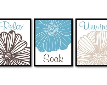 Bathroom Wall Art Relax Soak Unwind Blue Brown Beige Bathroom Decor Modern Bathroom Art Set of 3 Bath Art Prints Flower