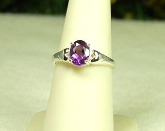 Amethyst Ring, Size 7, Royal Purple, Natural Amethyst, Sterling Silver, February Birthstone, Amethyst Solitaire, Purple Amethyst