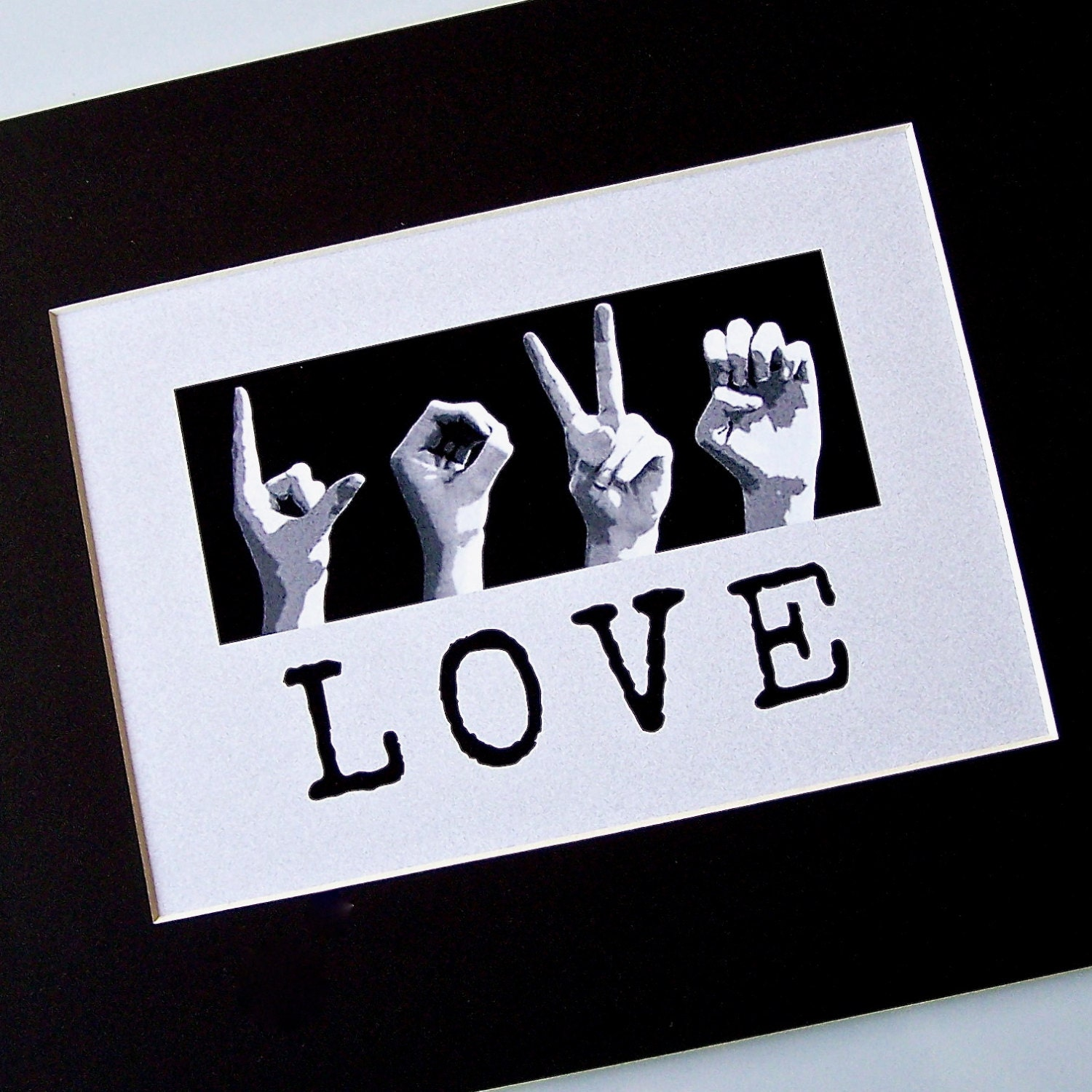 Love Asl American Sign Language Letters  Black  White Digital