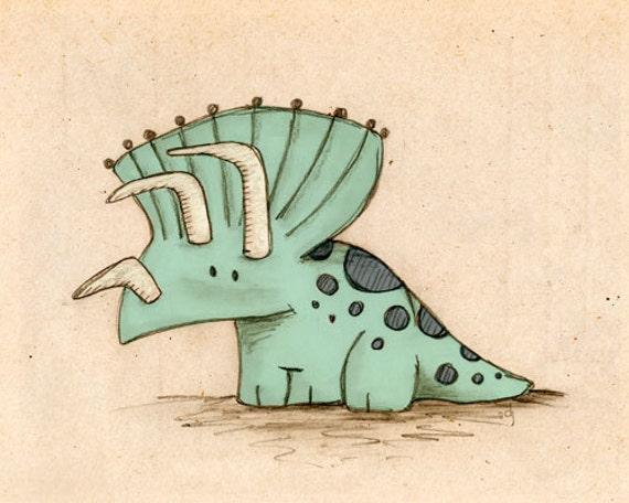 Triceratops Dinosaur Print 8x10