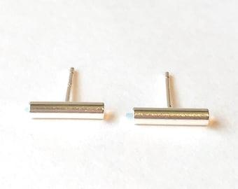 Bar stud earrings tiny bar studs silver bar earrings thin bar earrings line stud earrings micro bar studs mini bar earrings silver bar studs