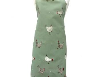 Chicken Apron, Multi Chicken & Spot Sage Apron - Spotty Hen Apron, 100% Cotton, Barnyard, Country Kitchen, Chicken Gift