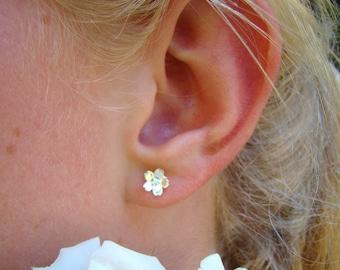 Flower Girl Earrings, 925 Sterling Silver Flower Stud Earrings