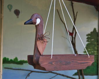 Wooden Goose Birdfeeder or Hanging planter