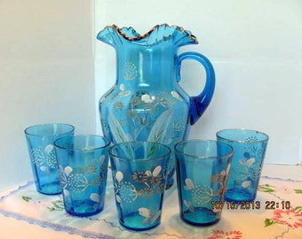 Victorian Era Blue Pitcher with 5 Matching Glasses, Hand Painted, Hand Blown Lemonade Set