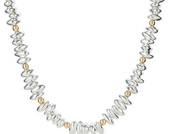 Gold and Silver Pebble Necklace