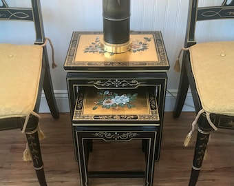 Hollywood Regency Nesting Tables, Asian Black Lacquer Tables, Chinese Tables,  Nested Table Set