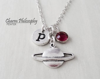 Ringed Planet Necklace - Saturn Charm - Antique Silver Jewelry - Monogram Personalized Initial and Birthstone