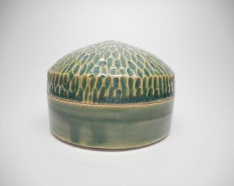 Trinket Jar Green Scoop Textured