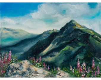 """Oil painting with mountains  """"Summer in the red glade"""" , FREE SHIPPING"""