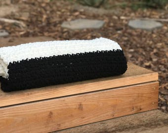 Black Coal and cream Crochet Blanket, Chunky Crochet Throw Blanket, 54x64