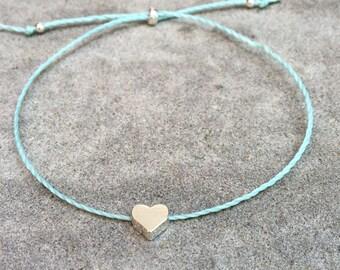 Tiny Heart (Love) Bracelet; Silver heart bead on cord bracelet, birthday gift, friendship bracelet, valentines day gift, layering bracelet