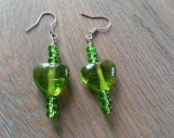 Cute green heart earrings