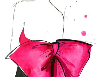 Print from original watercolor and pen fashion illustration by Jessica Durrant titled Pink Bow