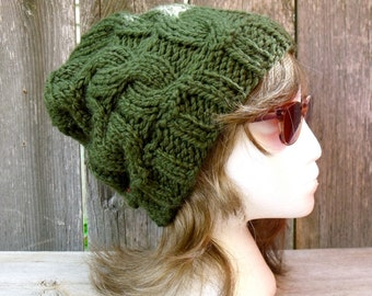 Cable Knit Hat, Women's Hat, Cable Knit Beanie, Slouchy Beanie, Slouchy Hat, Chunky Beanie, Chunky Hat, Knit Hat, Knitting Hat, Loden Green,