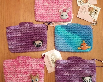 Mini Super Awesome All Purpose Crochet Pouch - Google Eye Animals - your choice of color!