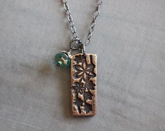 Bronze Tag Necklace, Floral, Botanical, Charm Pendant, Hand Embossed, Sterling Silver Cable Chain, Czech Glass, 17""