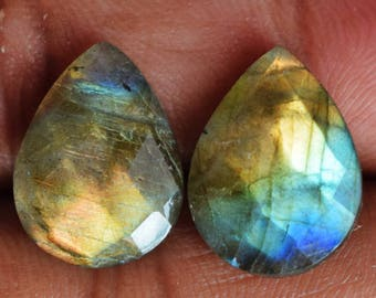 Natural Labradorite Flashy Gemstone, Pair, Loose Semi Precious, Pear Shape, Golden Blue Fire, Earring Jewellery Cabochon, Faceted Stone 9408