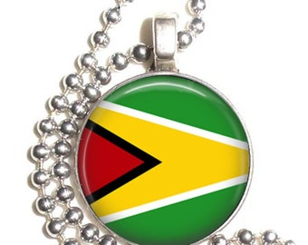 Republic of Guyana Flag Art Pendant, Earrings and/or Keychain, Round Photo Silver and Resin Charm Jewelry, Flag Earrings, Flag Key Fob