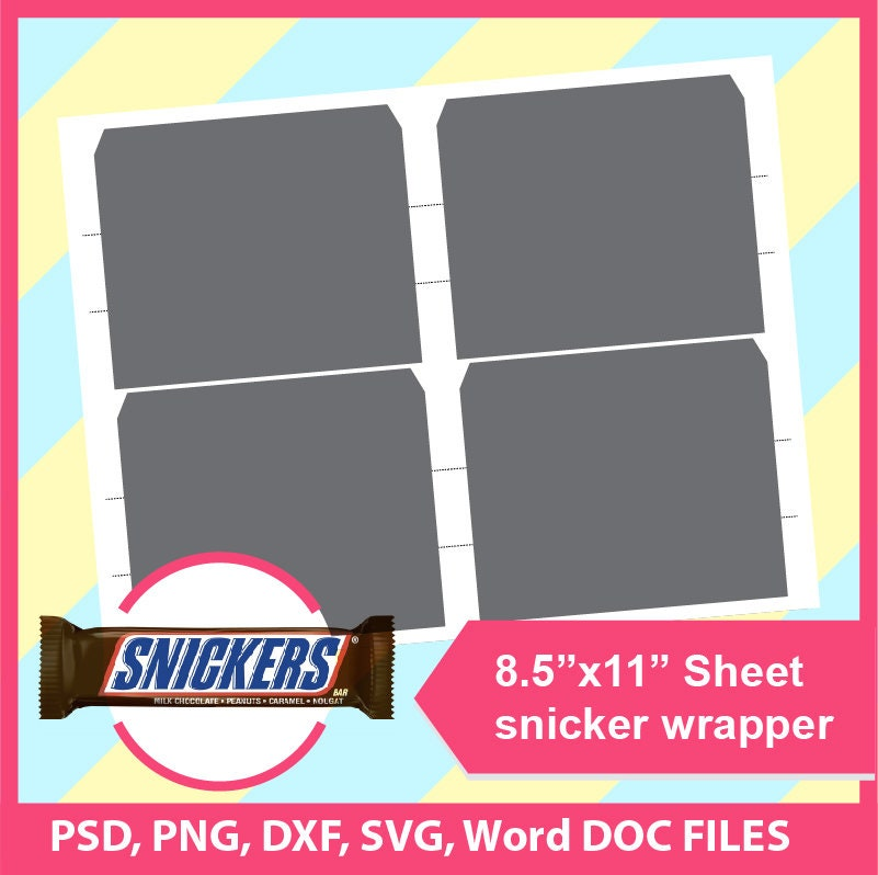 Instant Download Snickers Wrapper Template, Microsoft word doc, PSD ...