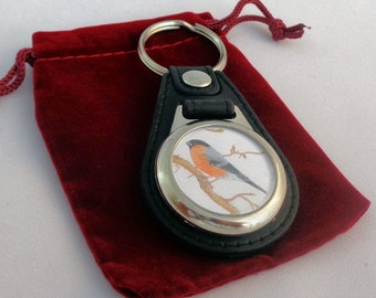 BULLFINCH Wildlife / Bird Art Picture Keyring - Print From An Original Pencil Drawing By Joanne T Kell
