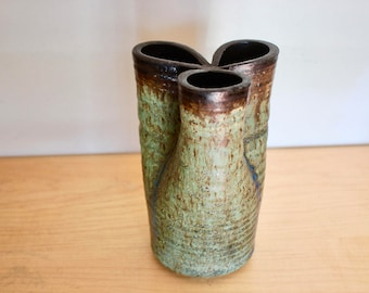 3 Neck Stoneware Vase Studio Pottery Signed - Very Earthy Organic Form - Signed by Artist Turquoise Aqua Green Brown